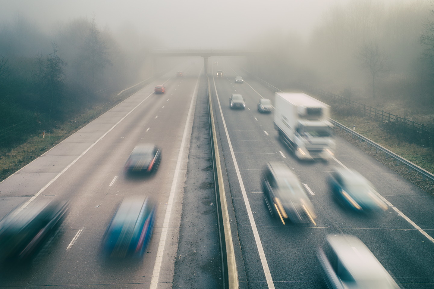 blurred cars on highway