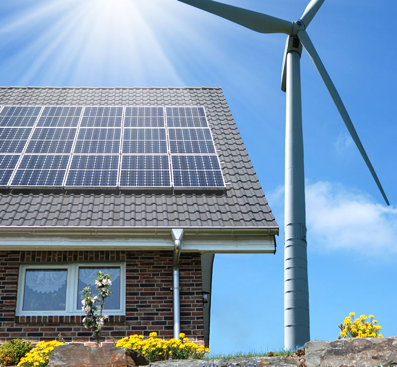 solar panel on house and windmill