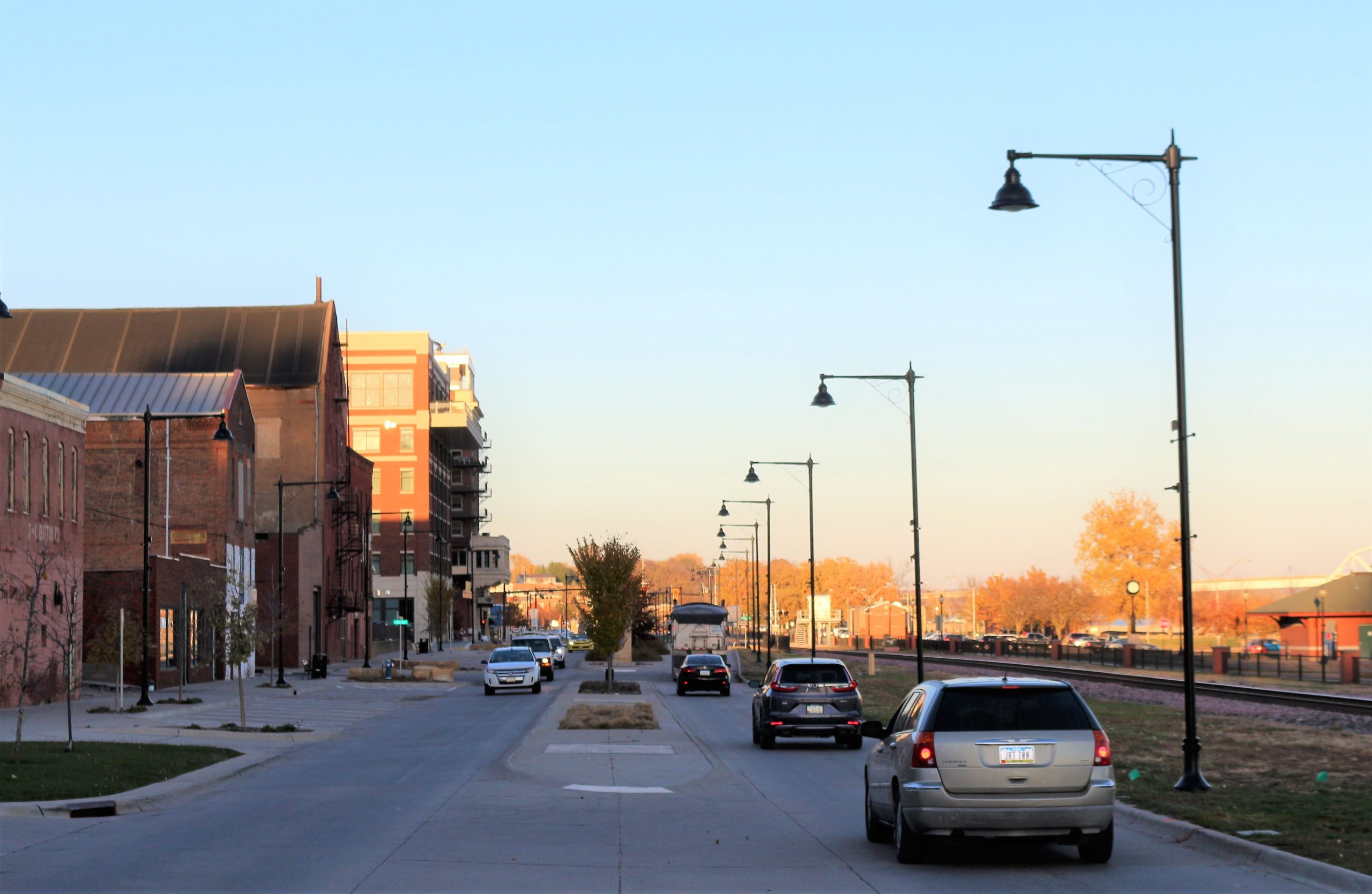 cars on a street downtown Muscatine