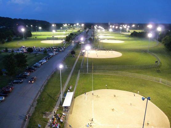 baseball diamonds lit up at night