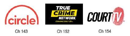 three channels - circle, true crime, court tv