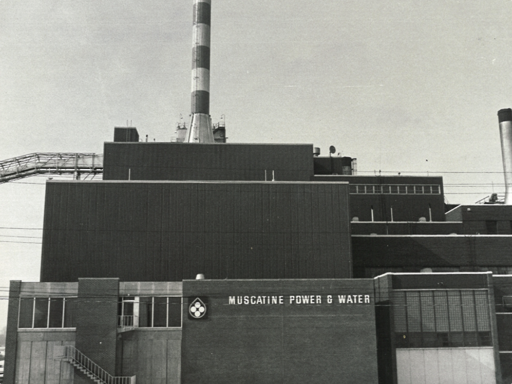 black and white image of power plant building