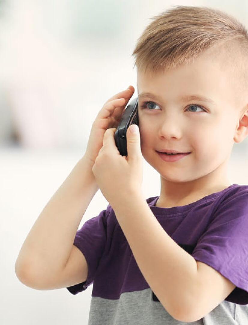child talking on phone