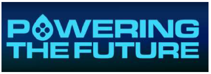 light blue text powering the future on dark background